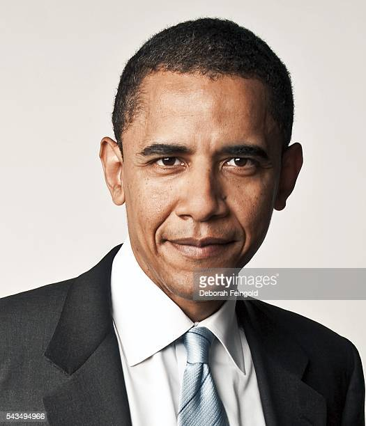 Senator Barack Obama poses inside the W Hotel for his book cover 'The Audacity of Hope' on April 13 2006 in Chicago Illinois