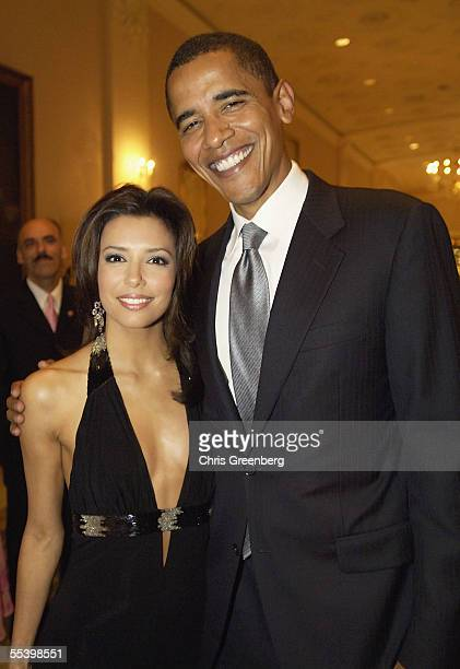 Senator Barack Obama poses with Eva Longoria at the National Hispanic Foundation For The Arts Annual 'Noche de Gala' at the Mayflower Hotel September...
