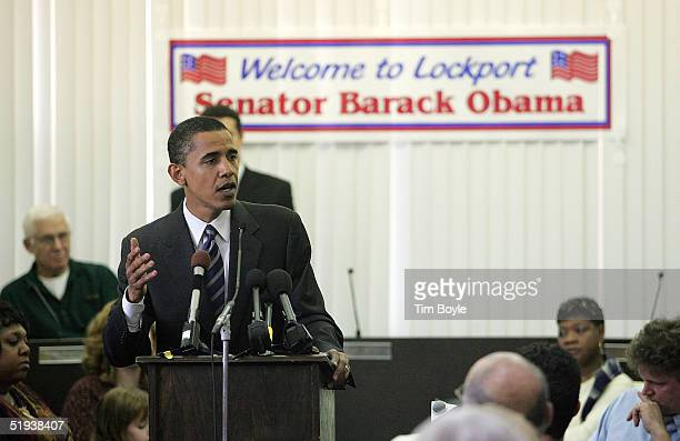 Senator Barack Obama speaks during a Will County Town Hall Meeting January 11, 2005 in Lockport, Illinois.