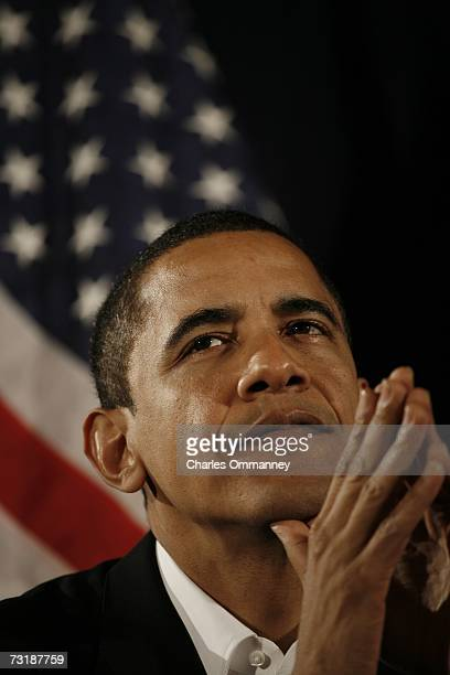 Senator Barack Obama speaks in Manchester New Hampshire on December 10 2006 at a rally by Democrats to celebrate the recent victories in the 2006...