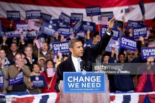 US Senator Barack Obama waving to crowd at Change We Need Presidential rally October 30 2008 at Verizon Wireless Virginia Beach Amphitheater in...