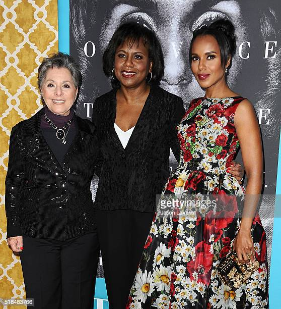 Senator Barbara Boxer Anita Hill and actress Kerry Washington attend the premiere of Confirmation at Paramount Theater on the Paramount Studios lot...