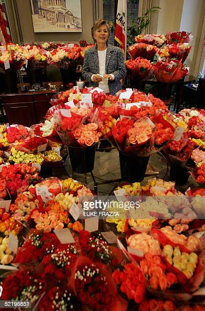 Senator Barbara Boxer DCA stands amid what her office described as some on the thousands of roses she received from constituents on Valentines Day 14...
