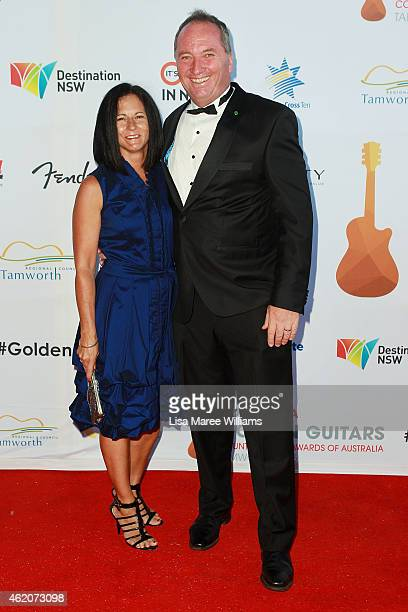 Senator Barnaby Joyce and Wife Natalie arrive at the 43rd Golden Guitar Country Music Awards of Australia on January 24 2015 in Tamworth Australia