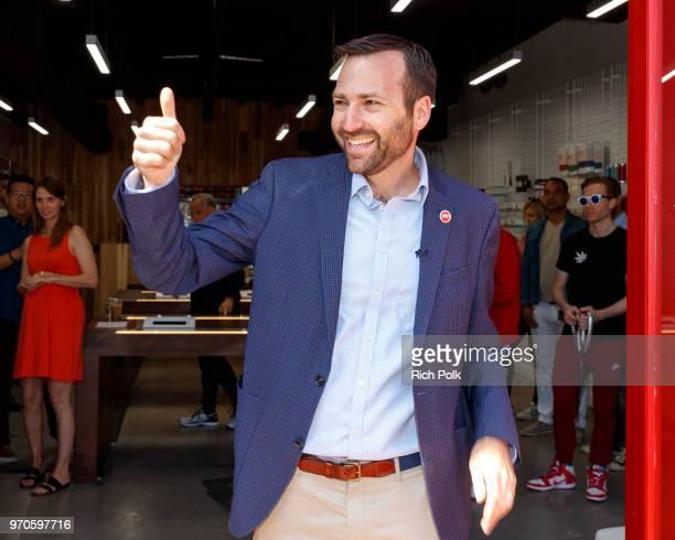 Senator Ben Allen speaks at the MedMen Abbot Kinney store ribbon cutting ceremony on June 9 2018 in Venice California