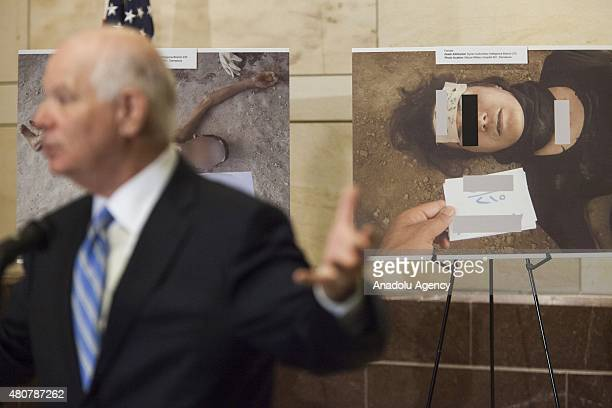 Senator Ben Cardin speaks during the unveiling of 'Caesar's Photos Inside Syria's Secret Prisons' a collection of photographs smuggled out of Syria...