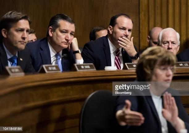 Senator Ben Sasse a Republican from Nebraska from left Senator Ted Cruz a Republican from Texas Senator Mike Lee a Republican from Utah and Senate...