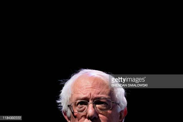 Senator Bernard Sanders a 2020 US Presidential hopeful speaks during the We The People Summit at the Warner Theatre April 1 in Washington DC