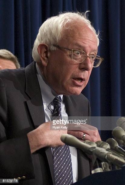 Senator Bernard Sanders addresses the press after Senate Republicans blocked the Democrats efforts to further an energy bill designed to address high...