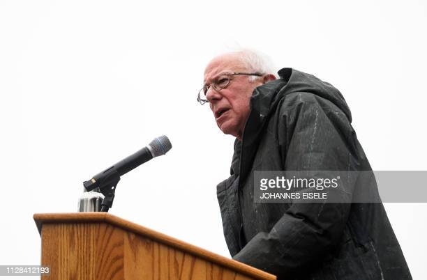 US Senator Bernie Sanders addresses a rally to kick off his 2020 US presidential campaign on March 2 2019 in the Brooklyn borough of New York City