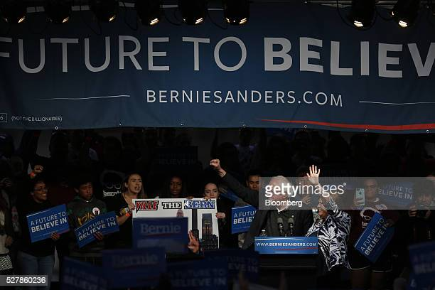 Senator Bernie Sanders an independent from Vermont and 2016 Democratic presidential candidate gestures during a campaign event in Louisville Kentucky...