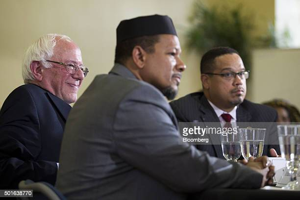 Senator Bernie Sanders an independent from Vermont and 2016 Democratic presidential candidate left Imam Talib Shareef center and Representative Keith...