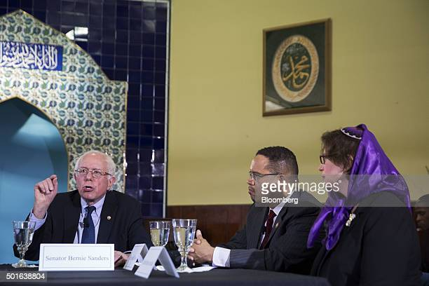 Senator Bernie Sanders an independent from Vermont and 2016 Democratic presidential candidate left speaks as Representative Keith Ellison a Democrat...