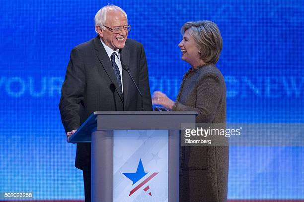 Senator Bernie Sanders an independent from Vermont and 2016 Democratic presidential candidate left and Hillary Clinton former Secretary of State and...