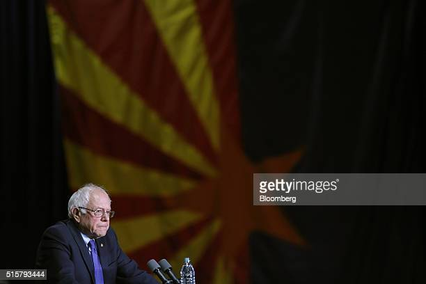 Senator Bernie Sanders an independent from Vermont and 2016 Democratic presidential candidate pauses while speaking during a campaign event in...