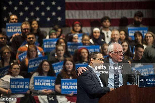 Senator Bernie Sanders an independent from Vermont and 2016 Democratic presidential candidate right speaks on stage with Representative Keith Ellison...