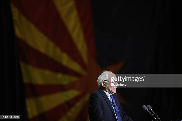Senator Bernie Sanders an independent from Vermont and 2016 Democratic presidential candidate smiles during a campaign event in Phoenix Arizona US on...