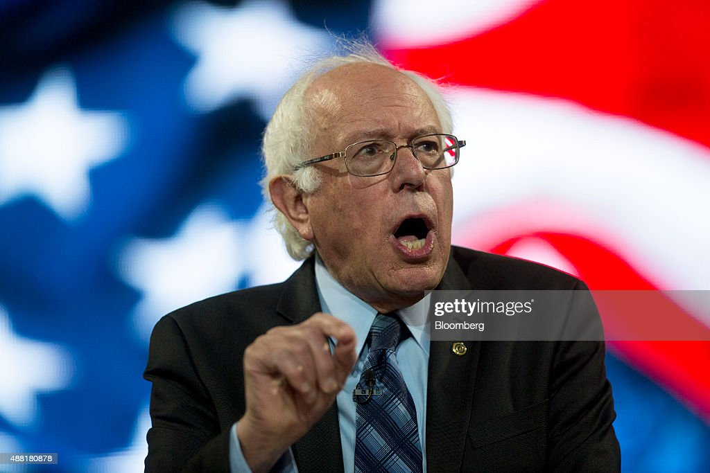 Senator Bernie Sanders, an independent from Vermont and 2016 Democratic presidential candidate, speaks during a Liberty University Convocation in Lynchburg, Virginia, U.S., on Monday, Sept. 14, 2015. Sanders now leads his Democratic rival former secretary of state Hillary Clinton by double digits in Iowa and New Hampshire, the first two states in where votes will be cast in 2016 to decide the party's presidential nominee. Photographer: Andrew Harrer/Bloomberg via Getty Images