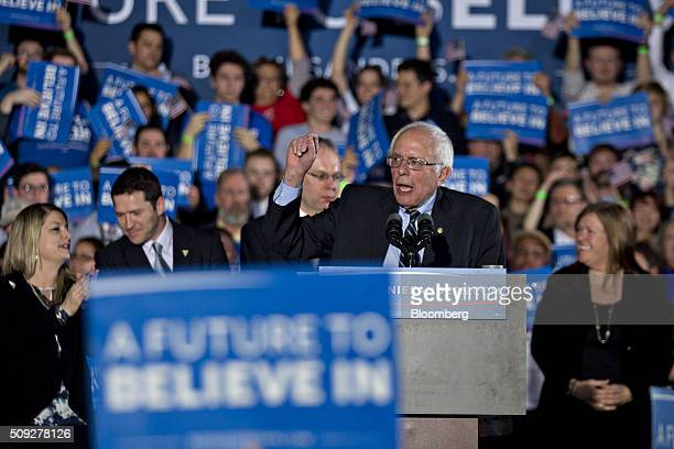 Senator Bernie Sanders an independent from Vermont and 2016 Democratic presidential candidate speaks during a primary watch party at Concord High...