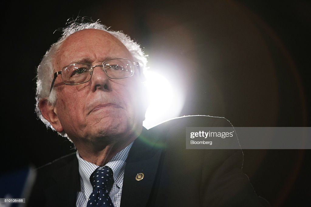 Senator Bernie Sanders, an independent from Vermont and 2016 Democratic presidential candidate, speaks during a campaign event at the Colorado Convention Center in Denver, Colorado, U.S., on Saturday, Feb. 13, 2016. In the first Democratic debate on Thursday since her crushing defeat in New Hampshire, Hillary Clinton tried a new approach to win back wavering supporters, capturing Bernie Sanders anger without looking angry. Photographer: Matthew Staver/Bloomberg via Getty Images