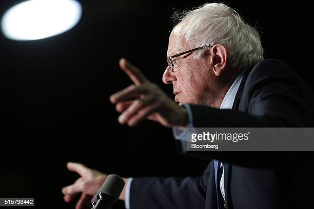 Senator Bernie Sanders an independent from Vermont and 2016 Democratic presidential candidate speaks during a campaign event in Phoenix Arizona US on...