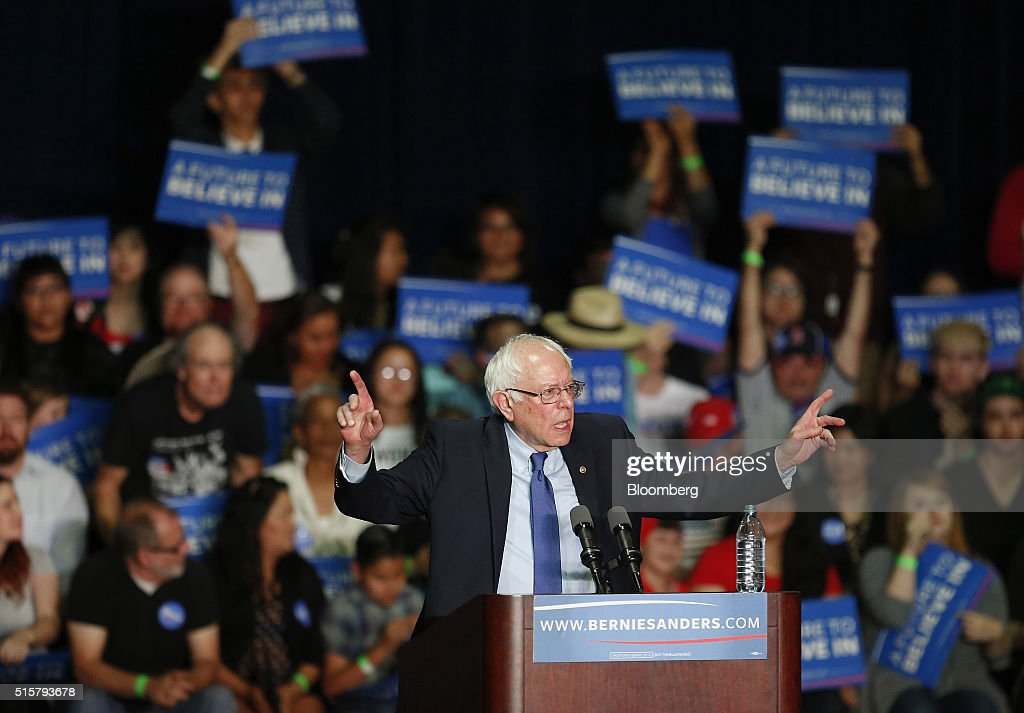 Senator Bernie Sanders, an independent from Vermont and 2016 Democratic presidential candidate, speaks during a campaign event in Phoenix, Arizona, U.S., on Tuesday, March 15, 2016. In Democratic forums, Sanders and Hillary Clinton argue that deportations are ripping apart hard-working undocumented people who are merely trying to make a good life for their families, and that the president must show them mercy, even if it means stretching the limits of the law. Photographer: Luke Sharrett/Bloomberg via Getty Images
