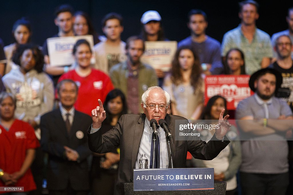 Senator Bernie Sanders, an independent from Vermont and 2016 Democratic presidential candidate, speaks during a campaign event in Los Angeles, California, U.S., on Wednesday, March 23, 2016. Sanders won the Democratic caucuses in Utah, according to the Associated Press, while votes were still being counted in the state's Republican caucuses and the Democratic caucuses in Idaho. Photographer: Patrick T. Fallon/Bloomberg via Getty Images