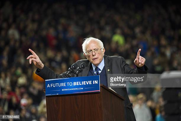 Senator Bernie Sanders an independent from Vermont and 2016 Democratic presidential candidate speaks during a campaign event in Seattle Washington US...