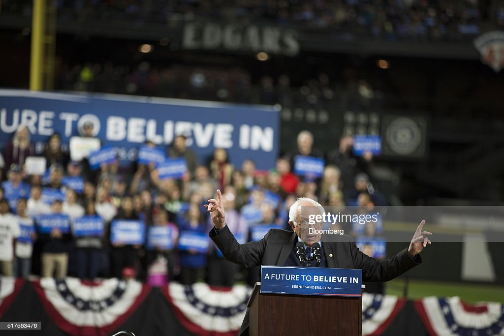 Senator Bernie Sanders, an independent from Vermont and 2016 Democratic presidential candidate, speaks during a campaign event in Seattle, Washington, U.S., on Friday, March 25, 2016. More than halfway through a nomination race that she entered as the clear favorite, Hillary Clinton finds herself deadlocked with Sanders among Democrats. Photographer: Mike Kane/Bloomberg via Getty Images
