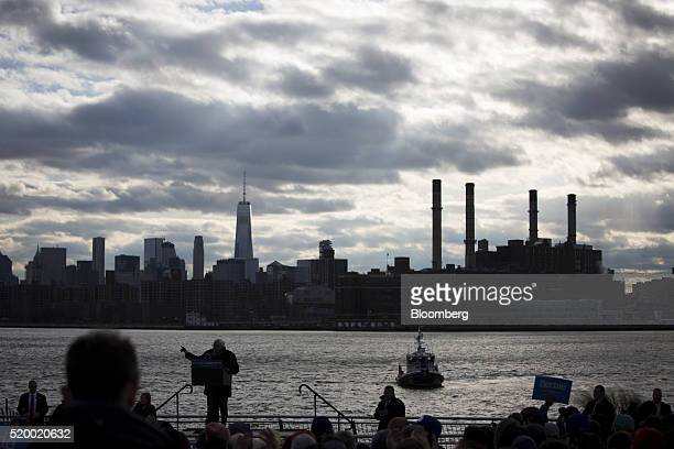 Senator Bernie Sanders an independent from Vermont and 2016 Democratic presidential candidate speaks during a campaign event in the Brooklyn borough...