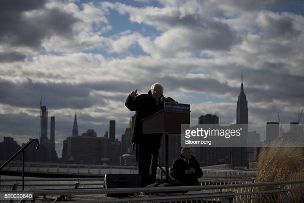Senator Bernie Sanders an independent from Vermont and 2016 Democratic presidential candidate speaks with the Empire State Building and New York City...