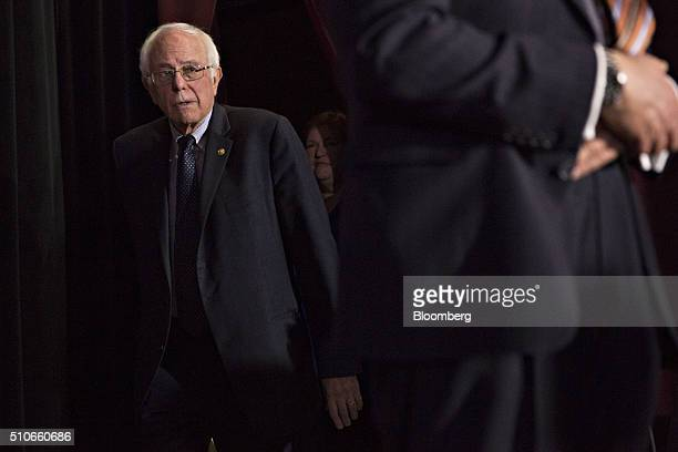 Senator Bernie Sanders an independent from Vermont and 2016 Democratic presidential candidate arrives to speak at a town hall event at the University...