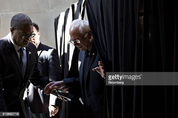 Senator Bernie Sanders an independent from Vermont and 2016 Democratic presidential candidate arrives to speak to an overflow crowd ahead of a town...