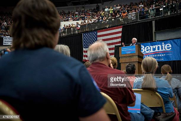 US Senator Bernie Sanders an Independent from Vermont and 2016 US presidential candidate speaks during a campaign rally in Madison Wisconsin US on...