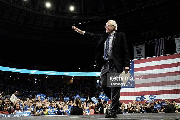 Senator Bernie Sanders an independent from Vermont and 2016 Democratic presidential candidate walks on to the stage during a campaign rally at Bon...
