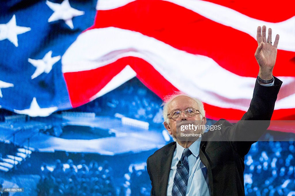 Senator Bernie Sanders, an independent from Vermont and 2016 Democratic presidential candidate, waves after speaking during a Liberty University Convocation in Lynchburg, Virginia, U.S., on Monday, Sept. 14, 2015. Sanders now leads his Democratic rival former secretary of state Hillary Clinton by double digits in Iowa and New Hampshire, the first two states in where votes will be cast in 2016 to decide the party's presidential nominee. Photographer: Andrew Harrer/Bloomberg via Getty Images
