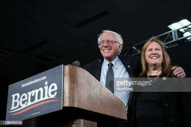 Senator Bernie Sanders an Independent from Vermont and 2020 presidential candidate arrives to speak during a caucus night watch party with his wife...