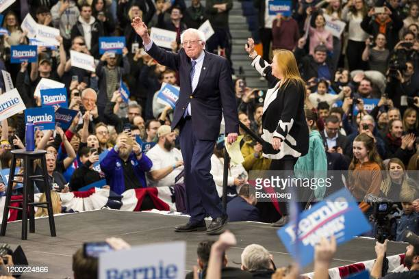 Senator Bernie Sanders an Independent from Vermont and 2020 presidential candidate arrives on stage with his wife Jane O'Meara during a primary night...
