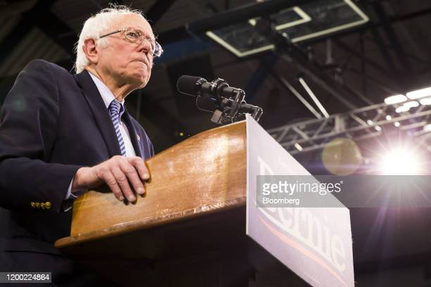 Senator Bernie Sanders an Independent from Vermont and 2020 presidential candidate pauses while speaking during a primary night rally in Manchester...