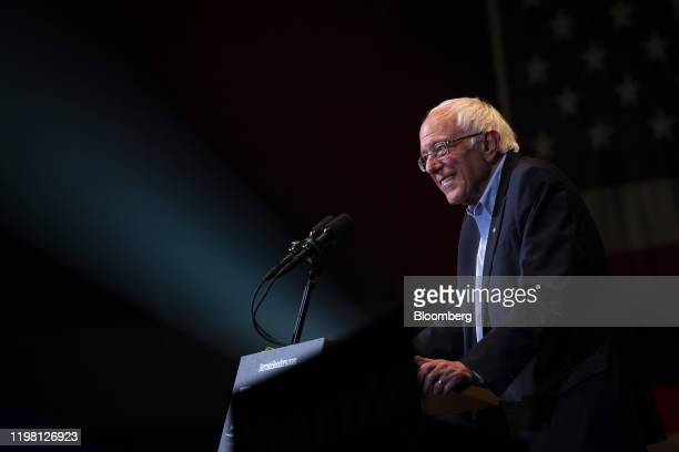 Senator Bernie Sanders an Independent from Vermont and 2020 presidential candidate smiles while speaking during a campaign event in Cedar Rapids Iowa...