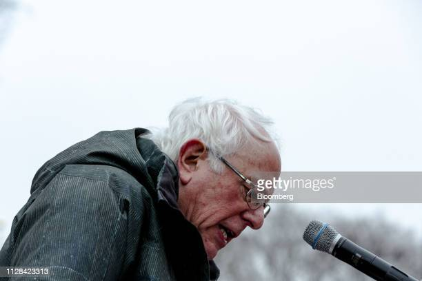Senator Bernie Sanders an Independent from Vermont and 2020 presidential candidate speaks during a campaign rally in the Brooklyn Borough of New York...