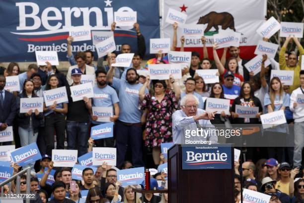 Senator Bernie Sanders an Independent from Vermont and 2020 presidential candidate speaks during a campaign rally in Los Angeles California US on...
