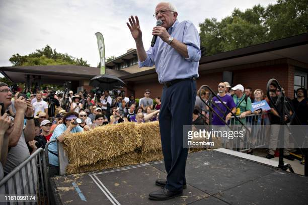 Senator Bernie Sanders an independent from Vermont and 2020 presidential candidate speaks at the Des Moines Register Soapbox during the Iowa State...