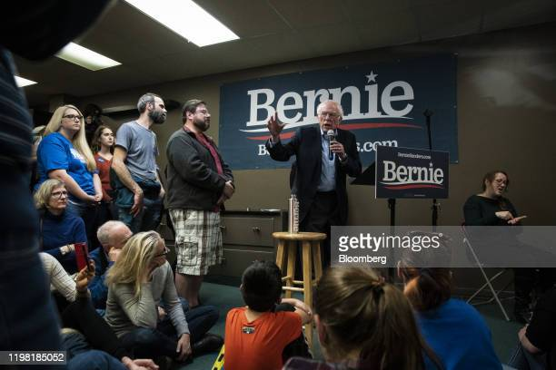 Senator Bernie Sanders, an Independent from Vermont and 2020 presidential candidate, speaks during a field office visit in Newton, Iowa, U.S., on...