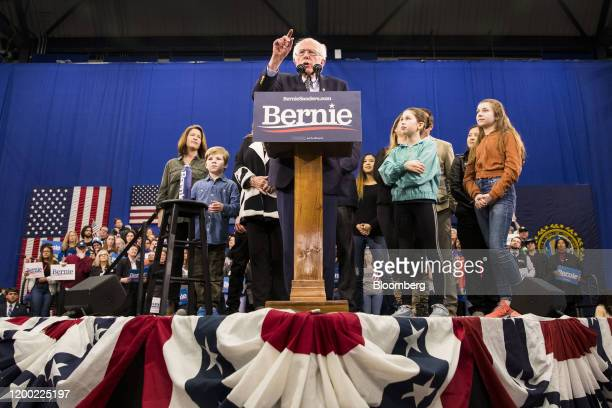 Senator Bernie Sanders an Independent from Vermont and 2020 presidential candidate speaks during a primary night rally in Manchester New Hampshire US...