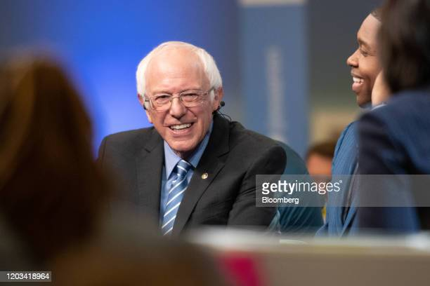 Senator Bernie Sanders an Independent from Vermont and 2020 presidential candidate speaks to a member of the media following the Democratic...