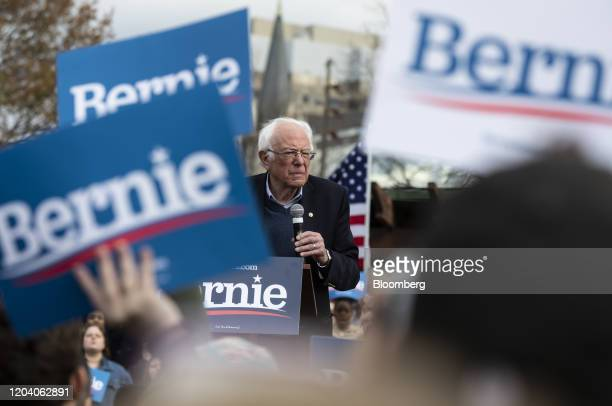Senator Bernie Sanders an Independent from Vermont and 2020 presidential candidate speaks during a Get Out The Vote Rally at Finlay Park in Columbia...