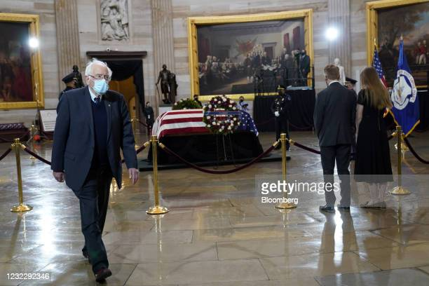 Senator Bernie Sanders, an Independent from Vermont, departs after paying respects during a ceremony for late U.S. Capitol Police Officer William...