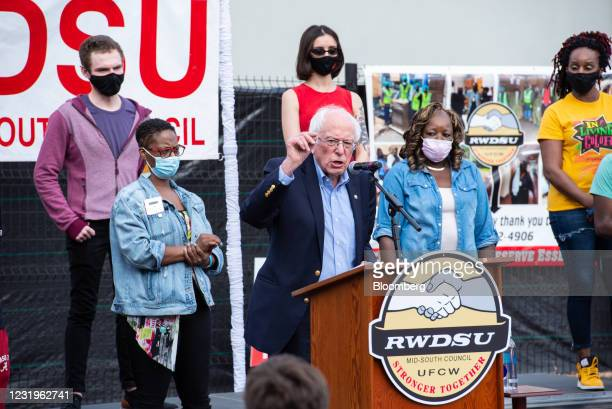 Senator Bernie Sanders, an Independent from Vermont, gestures as he speaks at an event at the Retail, Wholesale and Department Store Union...