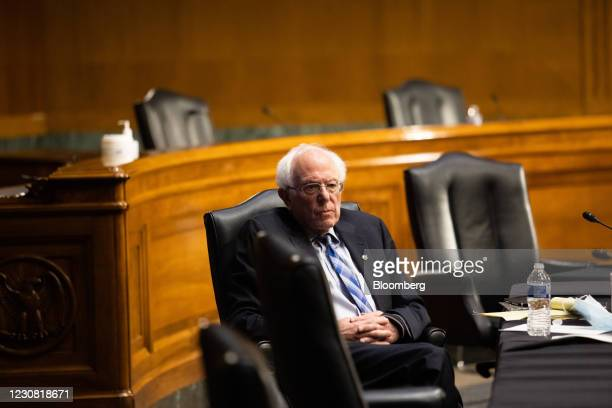 Senator Bernie Sanders, an independent from Vermont, listens during a Senate Energy & Natural Resources Committee confirmation hearing for Jennifer...